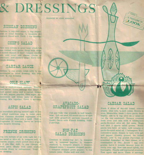 Vintage Salads & Dressings Recipe Sheet