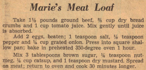 Marie's Meat Loaf Recipe