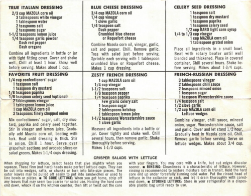 Recipes For Salad Dressings By Mazola