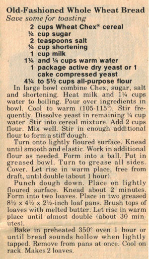 Vintage Old Fashioned Whole Wheat Bread Recipe Clipping