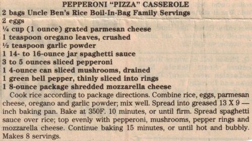Recipe Clipping For Pepperoni Pizza Casserole
