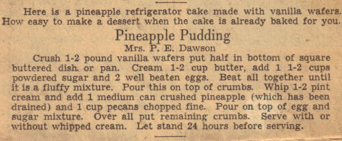 Vintage Pineapple Pudding Refrigerator Cake Recipe Clipping