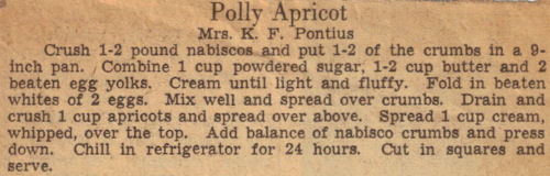 Vintage Polly Apricot Recipe Clipping