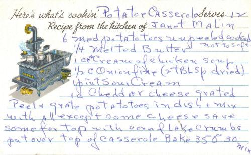 Potato Casserole Recipe Card
