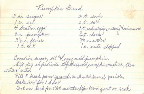 Handwritten Pumpkin Bread Recipe 171 Recipecurio Com