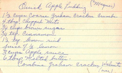 Handwritten Card For Quick Apple Pudding Recipe