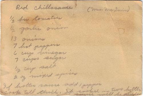 Handwritten Recipe Card For Homemade Red Chili Sauce