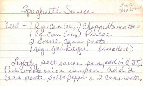 Handwritten Recipe Card For Spaghetti Sauce