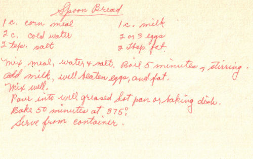 Handwritten Recipe For Spoon Bread