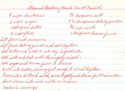 Handwritten Recipe For Steamed Blueberry Mush