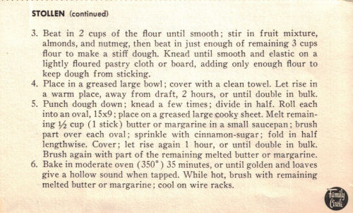 Back Of Vintage Recipe Card For Stollen Bread