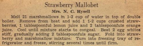 Recipe Clipping For Strawberry Mallobet