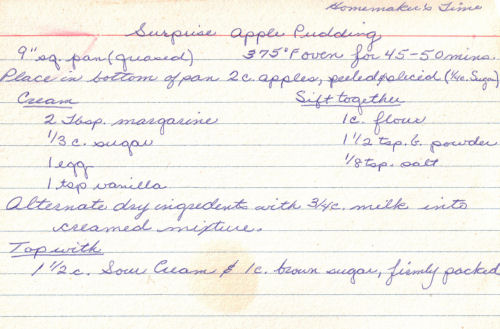Handwritten Recipe For Surprise Apple Pudding
