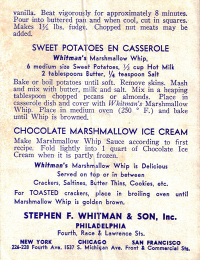 More Recipes From Whitman's Marshmallow Whip