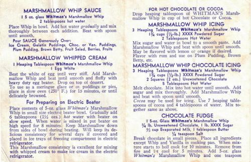 Whitman's Marshmallow Whip Recipes
