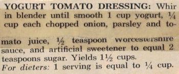 Recipe For Yogurt Tomato Dressing