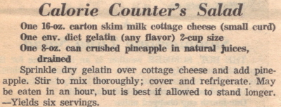 Recipe Clipping For Calorie Counter's Salad
