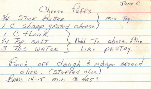 Handwritten Recipe For Cheese Puffs