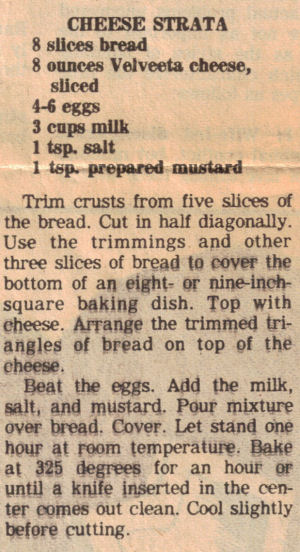 Recipe Clipping For Cheese Strata