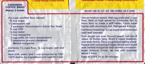 Fleischmann's Cinnamon Coffee Braid Recipe Packet