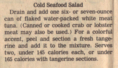 Recipe Clipping For Cold Seafood Salad