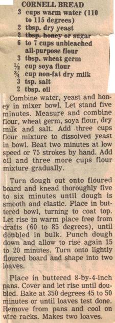 Recipe Clipping For Cornell Bread