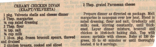 Recipe Clipping For Creamy Chicken Divan