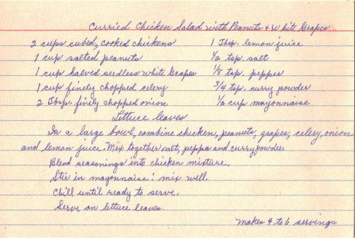 Handwritten Recipe For Curried Chicken Salad