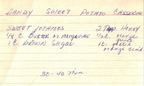 Handwritten Recipe For Sweet Potato Casserole
