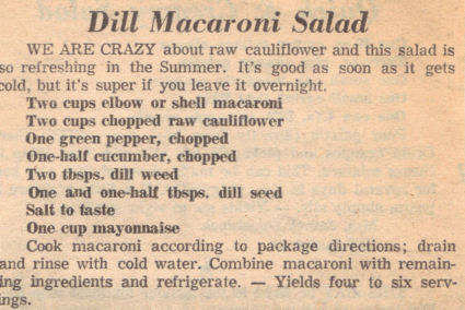 Recipe Clipping For Dill Macaroni Salad