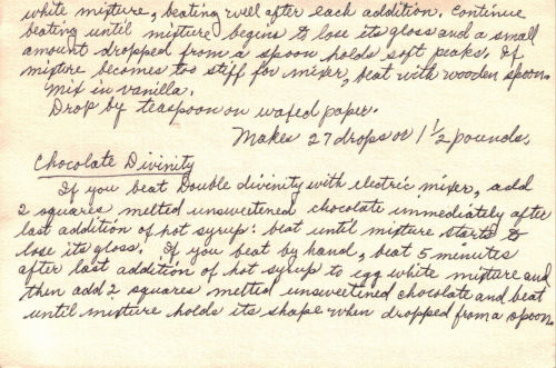 Back Of Handwritten Recipe For Double Divinity