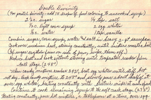 Handwritten Recipe For Double Divinity