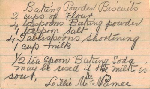 Handwritten Recipe Card For Baking Powder Biscuits