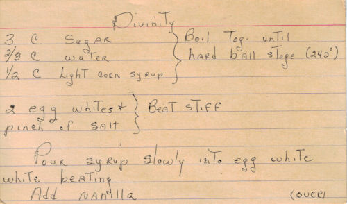 Handwritten Recipe For Divinity Candy