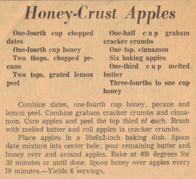 Recipe Clipping For Baked Honey-Crust Apples