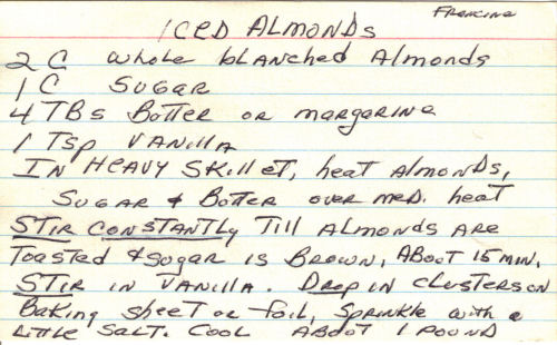 Handwritten Recipe For Iced Almonds