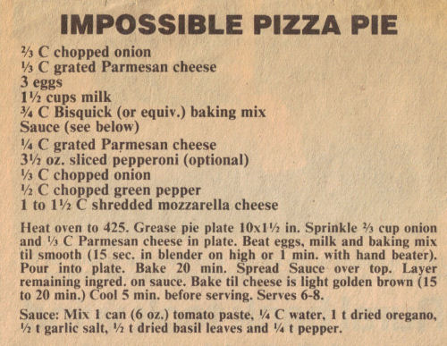 Newspaper Clipping For Impossible Pizza Pie