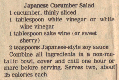 Recipe Clipping For Japanese Cucumber Salad