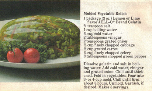 Recipe Card For Molded Vegetable Relish