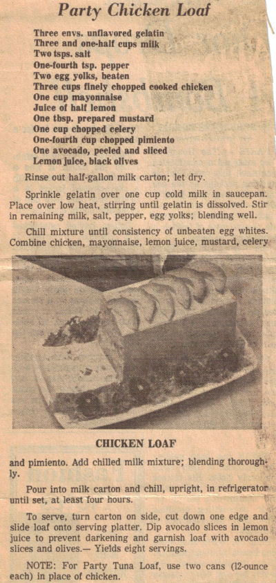 Recipe Clipping For Party Chicken Loaf