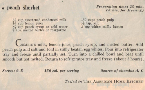 Vintage Recipe Clipping For Peach Sherbet