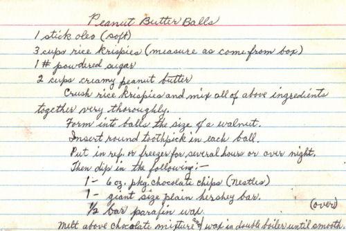 Handwritten Recipe For Peanut Butter Balls
