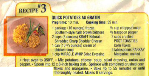 Recipe Clipping For Potatoes Au Gratin