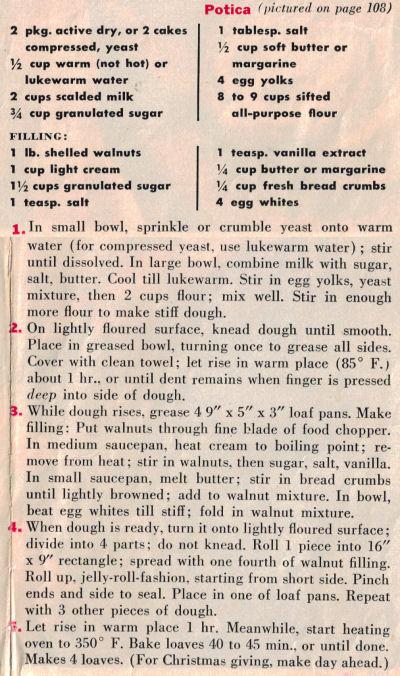 Recipe Clipping For Potica Bread
