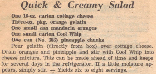 Recipe Clipping For Quick & Creamy Salad
