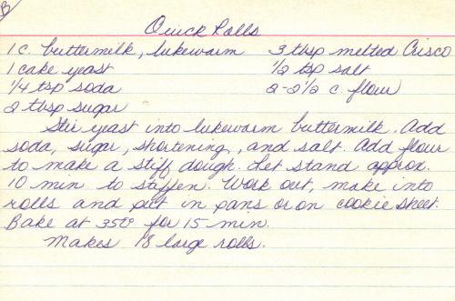 Handwritten Recipe For Quick Rolls