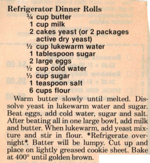 Recipe Clipping For Refrigerator Dinner Rolls