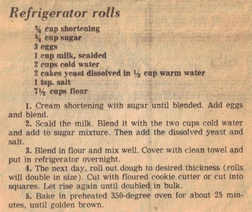 Recipe Clipping For Refrigerator Rolls
