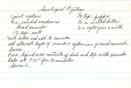 Handwritten Recipe For Scalloped Oysters