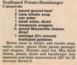 Recipe Clipping For Scalloped Potato-Hamburger Casserole